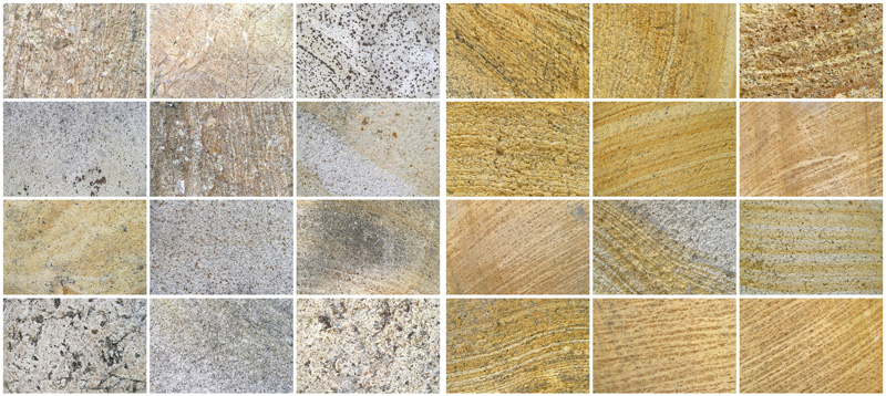 Different colours of limestone