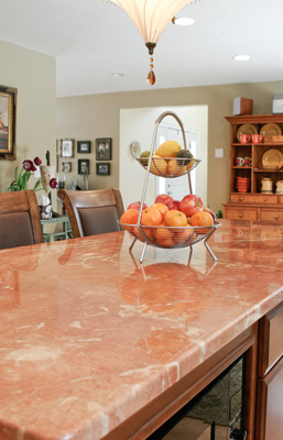 Red marble countertop
